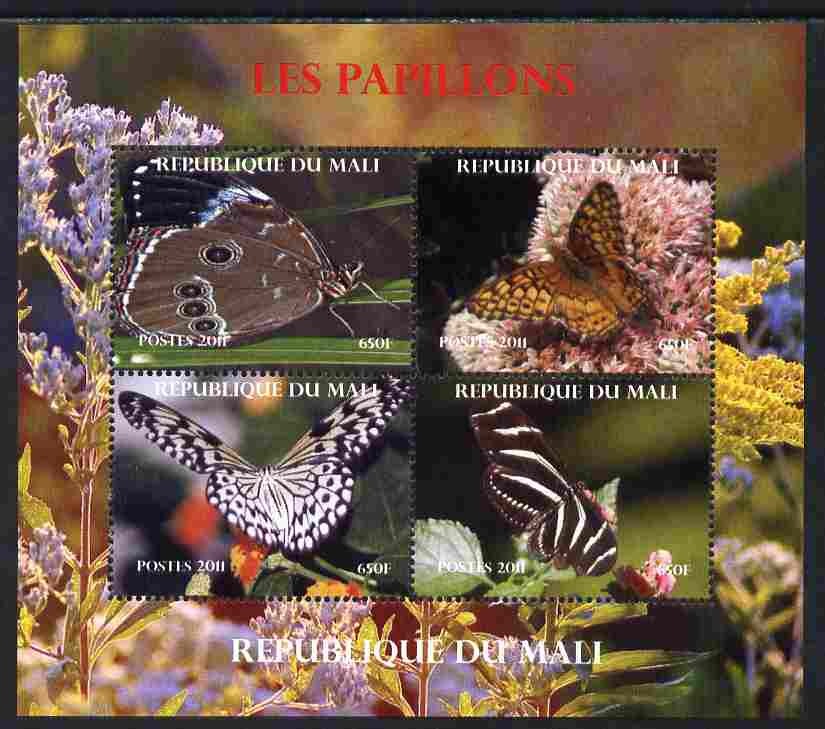 Mali 2011 Butterflies #2 perf sheetlet containing 4 values unmounted mint. Note this item is privately produced and is offered purely on its thematic appeal