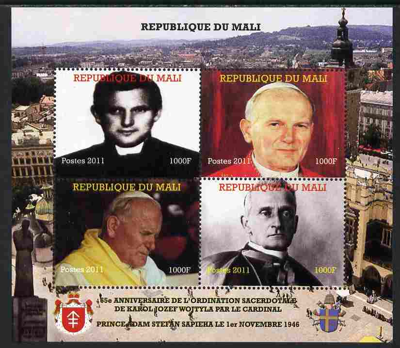 Mali 2011 Pope John Paul II #1 perf sheetlet containing 4 values unmounted mint. Note this item is privately produced and is offered purely on its thematic appeal