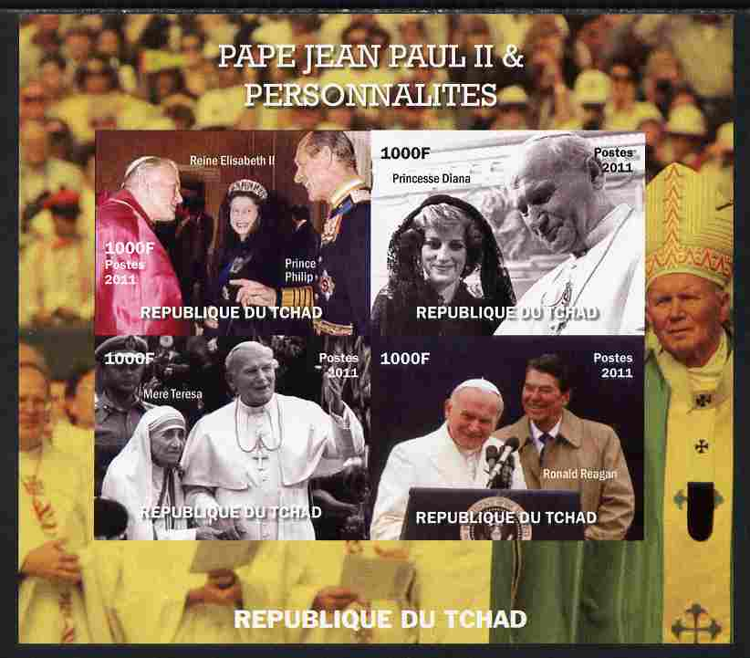 Chad 2011 Pope John Paul II & Personalities imperf sheetlet containing 4 values unmounted mint. Note this item is privately produced and is offered purely on its thematic appeal