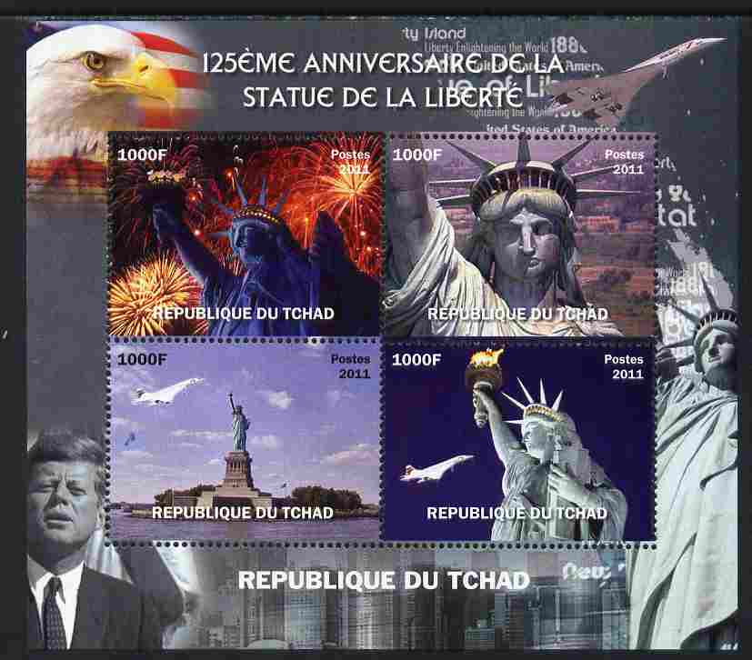 Chad 2011 Statue of Liberty perf sheetlet containing 4 values unmounted mint. Note this item is privately produced and is offered purely on its thematic appeal