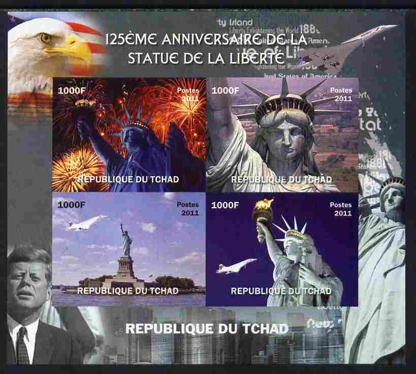 Chad 2011 Statue of Liberty imperf sheetlet containing 4 values unmounted mint. Note this item is privately produced and is offered purely on its thematic appeal