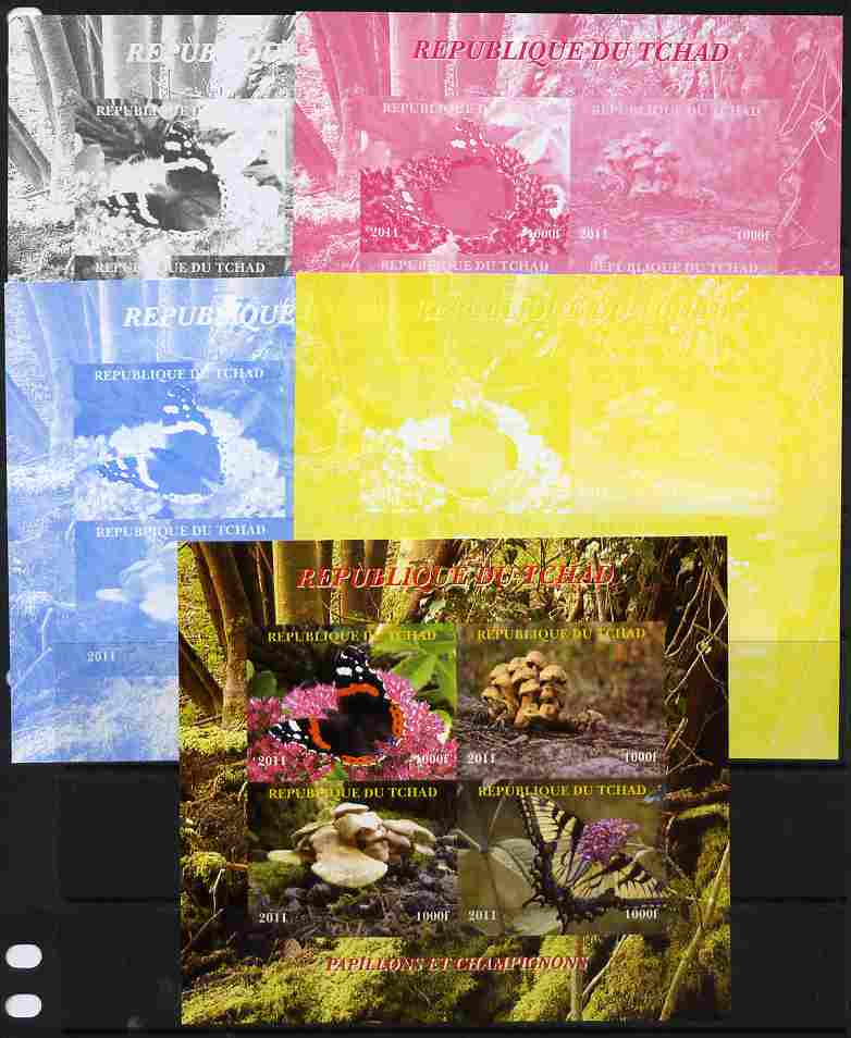 Chad 2011 Butterflies & Mushrooms sheetlet containing 4 values - the set of 5 imperf progressive proofs comprising the 4 individual colours plus all 4-colour composite, unmounted mint