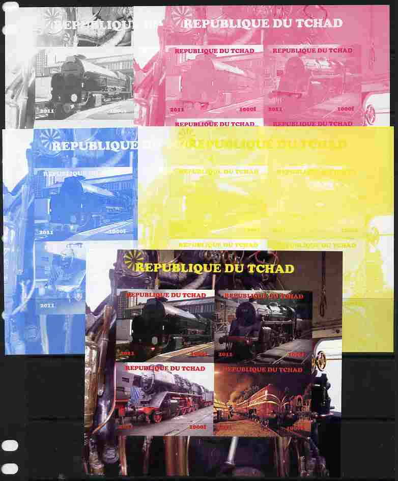Chad 2011 Steam Locomotives #1 sheetlet containing 4 values - the set of 5 imperf progressive proofs comprising the 4 individual colours plus all 4-colour composite, unmounted mint