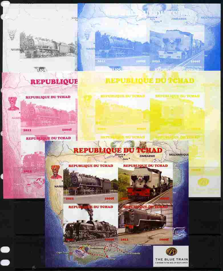 Chad 2011 Steam Locomotives #2 sheetlet containing 4 values - the set of 5 imperf progressive proofs comprising the 4 individual colours plus all 4-colour composite, unmounted mint