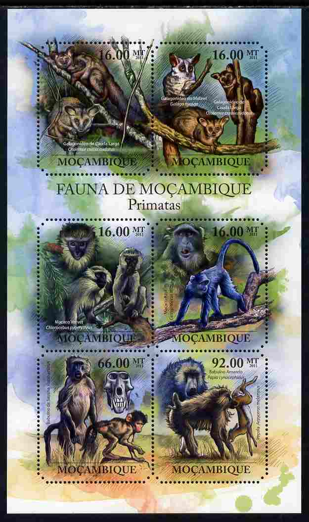 Mozambique 2011 Primates perf sheetlet containing 6 octagonal shaped values unmounted mint