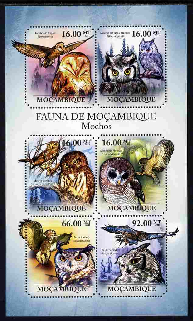 Mozambique 2011 Owls perf sheetlet containing 6 octagonal shaped values unmounted mint
