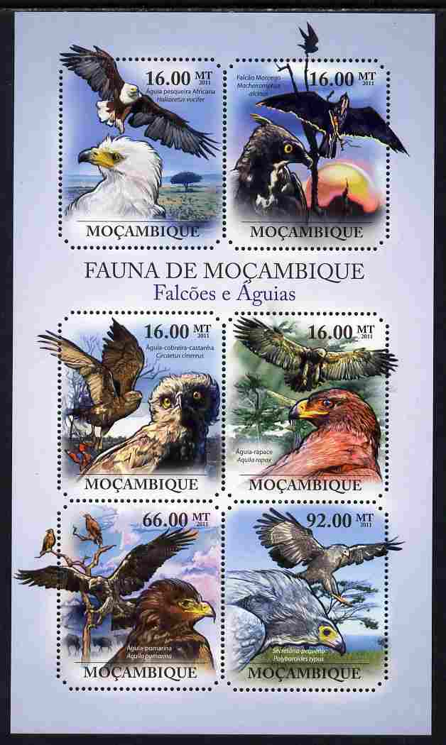 Mozambique 2011 Hawks & Eagles perf sheetlet containing 6 octagonal shaped values unmounted mint