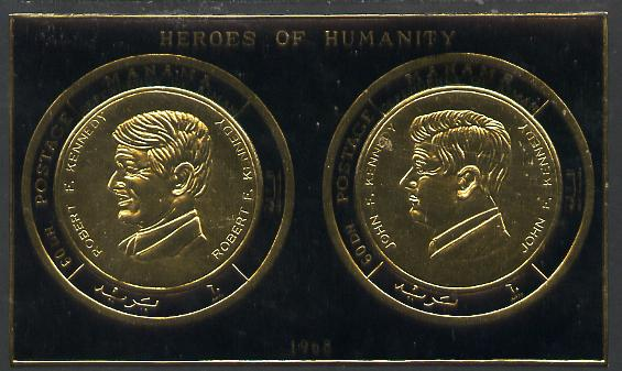 Manama 1970 Heroes of Humanity imperf gold foil m/sheet featuring John & Robert Kennedy unmounted mint, Mi BL 49