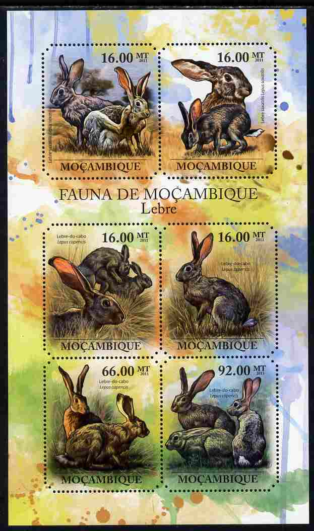 Mozambique 2011 Hares perf sheetlet containing 6 octagonal shaped values unmounted mint