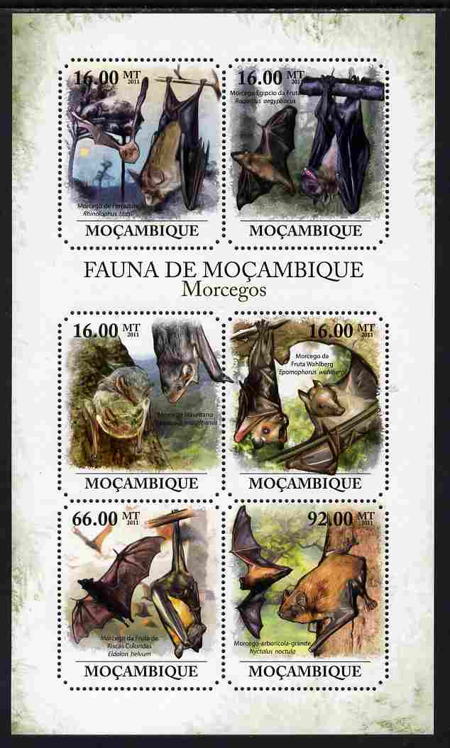 Mozambique 2011 Bats perf sheetlet containing 6 octagonal shaped values unmounted mint
