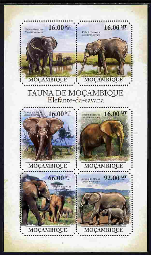 Mozambique 2011 Elephants perf sheetlet containing 6 octagonal shaped values unmounted mint