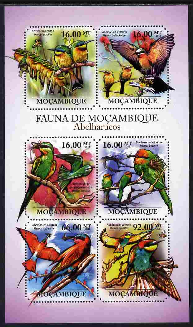 Mozambique 2011 Bee Eaters perf sheetlet containing 6 octagonal shaped values unmounted mint