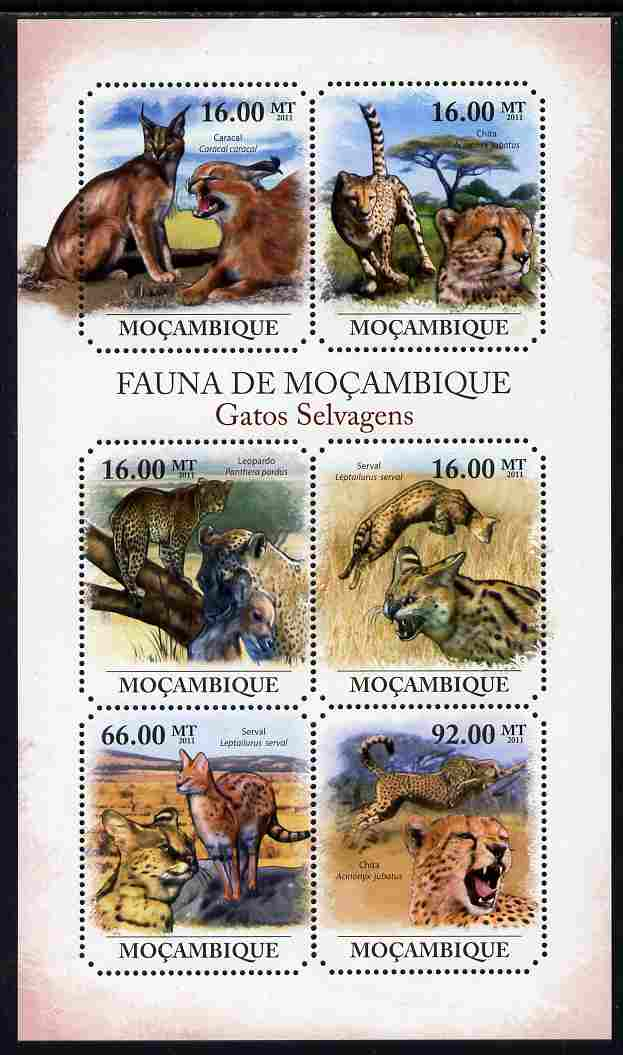 Mozambique 2011 Wild Cats perf sheetlet containing 6 octagonal shaped values unmounted mint