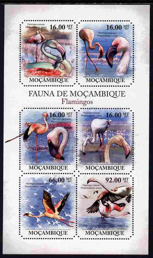 Mozambique 2011 Flamingos perf sheetlet containing 6 octagonal shaped values unmounted mint