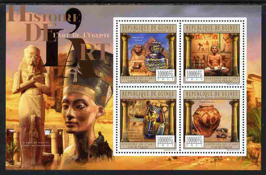 Guinea - Conakry 2011 History of Art - Egyptian Art perf sheetlet containing 4 values unmounted mint