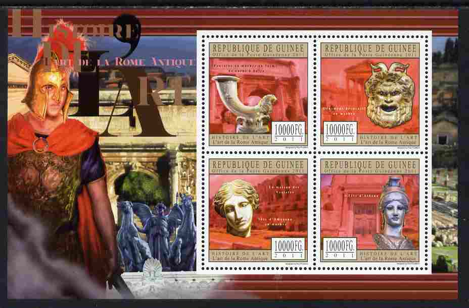 Guinea - Conakry 2011 History of Art - Ancient Roman perf sheetlet containing 4 values unmounted mint