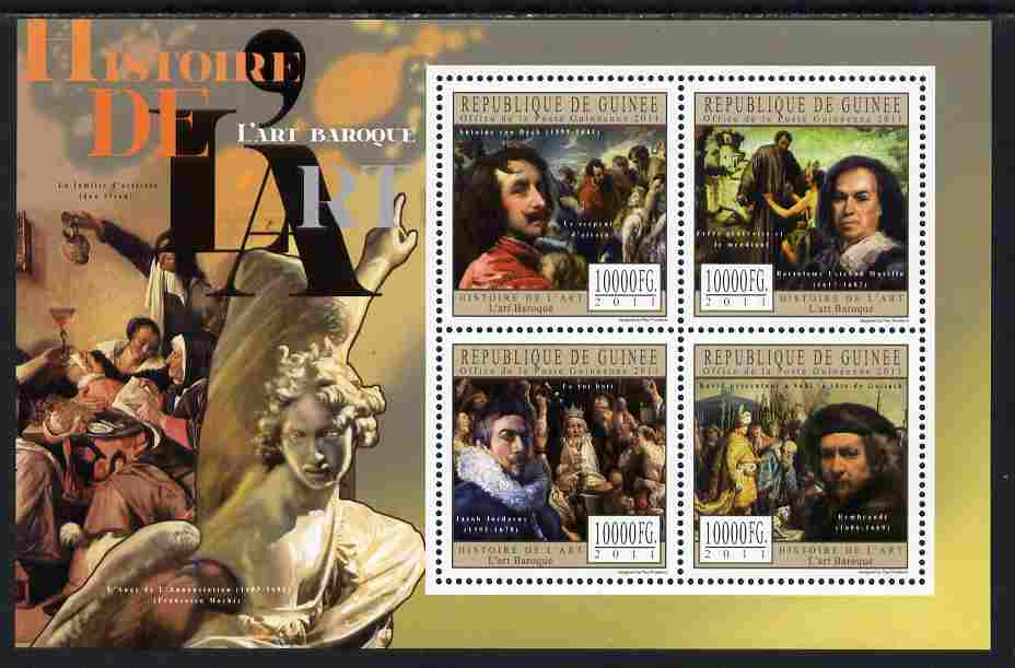 Guinea - Conakry 2011 History of Art - Baroque Art perf sheetlet containing 4 values unmounted mint