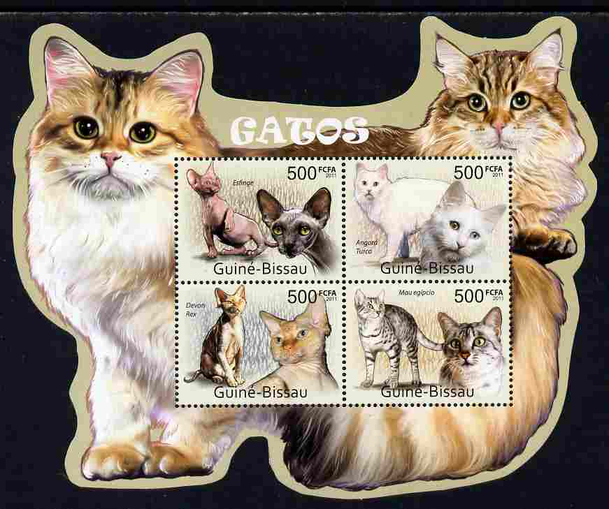 Guinea - Bissau 2011 Cats special shaped perf sheetlet containing 4 values unmounted mint