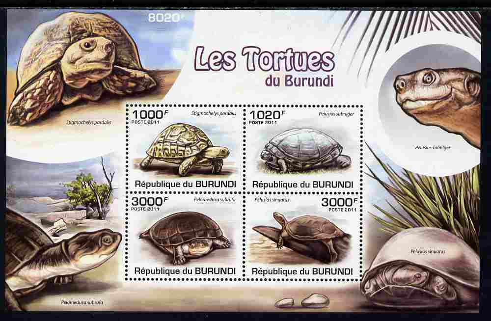 Burundi 2011 Turtles perf sheetlet containing 4 values unmounted mint