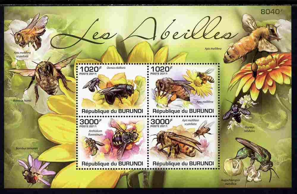 Burundi 2011 Bees perf sheetlet containing 4 values unmounted mint