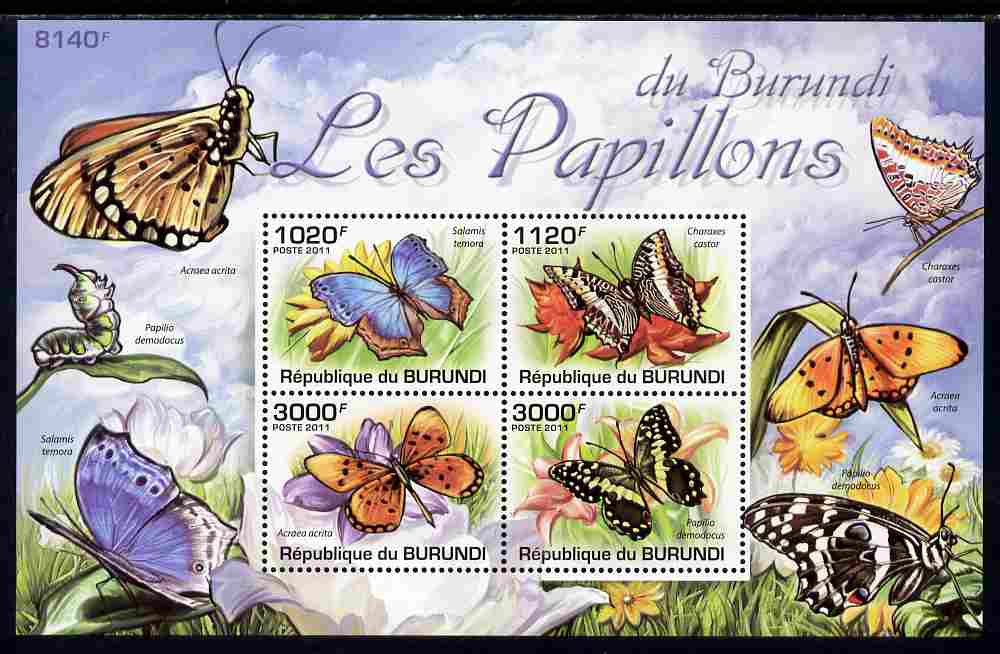 Burundi 2011 Butterflis perf sheetlet containing 4 values unmounted mint