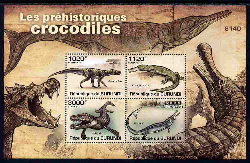 Burundi 2011 Crocodiles perf sheetlet containing 4 values unmounted mint