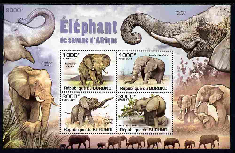 Burundi 2011 Elephants perf sheetlet containing 4 values unmounted mint
