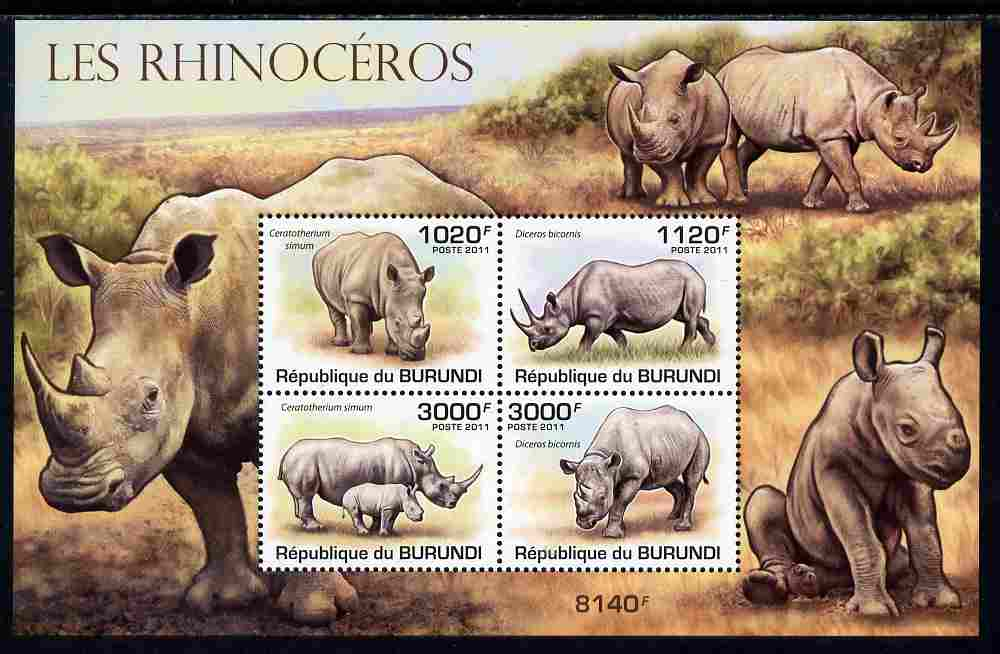 Burundi 2011 Rhinos perf sheetlet containing 4 values unmounted mint