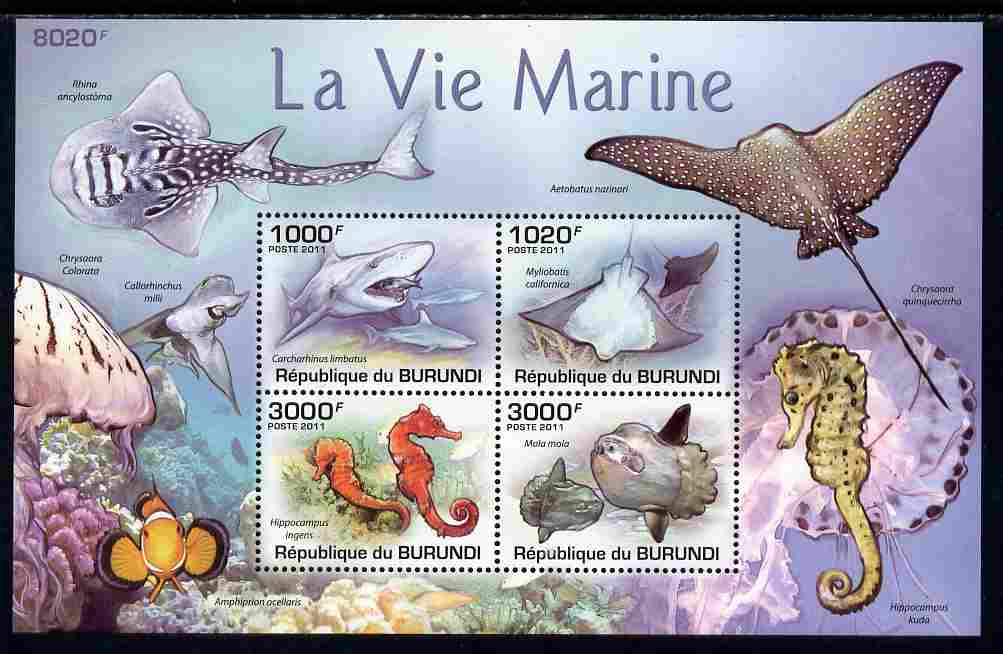 Burundi 2011 Marine Life perf sheetlet containing 4 values unmounted mint