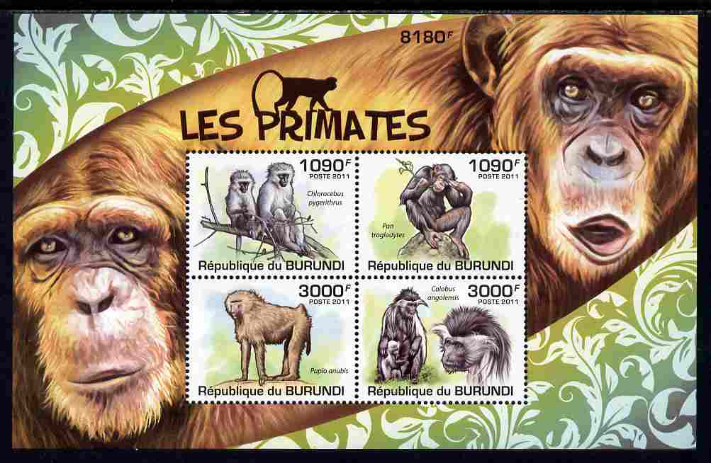Burundi 2011 Primates perf sheetlet containing 4 values unmounted mint