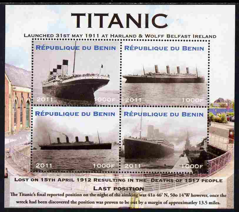 Benin 2011 Titanic #1 perf sheetlet containing 4 values unmounted mint. Note this item is privately produced and is offered purely on its thematic appeal