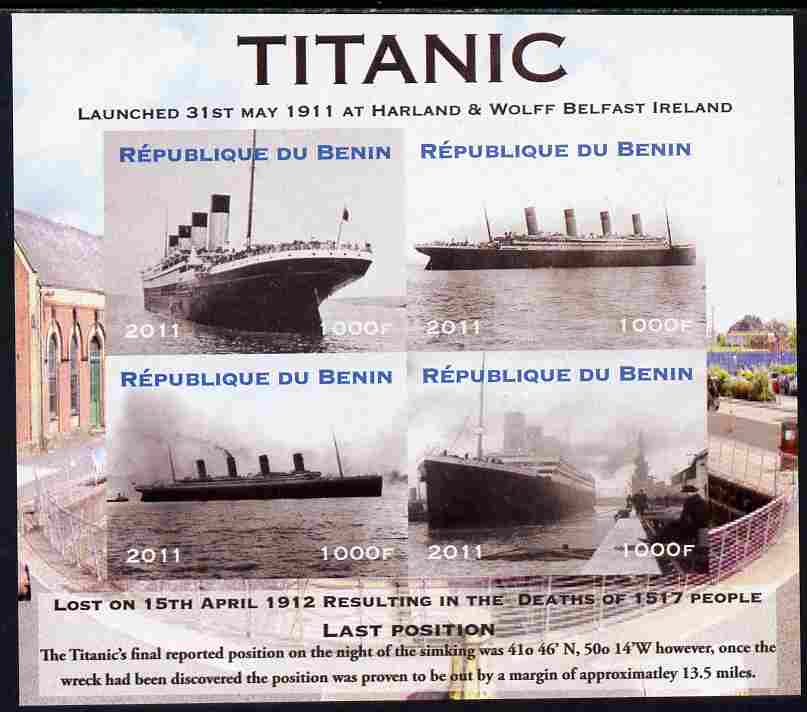 Benin 2011 Titanic #1 imperf sheetlet containing 4 values unmounted mint. Note this item is privately produced and is offered purely on its thematic appeal