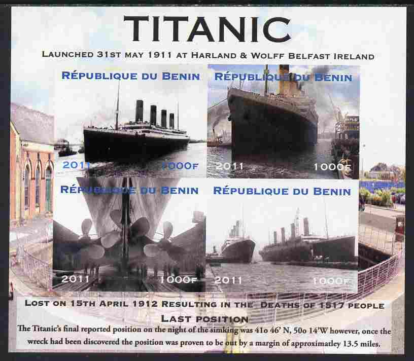 Benin 2011 Titanic #2 imperf sheetlet containing 4 values unmounted mint. Note this item is privately produced and is offered purely on its thematic appeal
