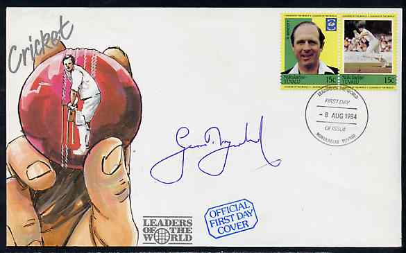 Tuvalu - Nukulaelae 1984 Cricketers 15c (G Boycott) se-tenant pair on illustrated cover with first day cancel signed by Boycott
