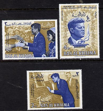 Ras Al Khaima 1965 Kennedy set of 3 unmounted mint (Mi 9-11A)