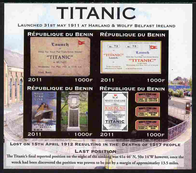Benin 2011 Titanic #3 imperf sheetlet containing 4 values unmounted mint. Note this item is privately produced and is offered purely on its thematic appeal