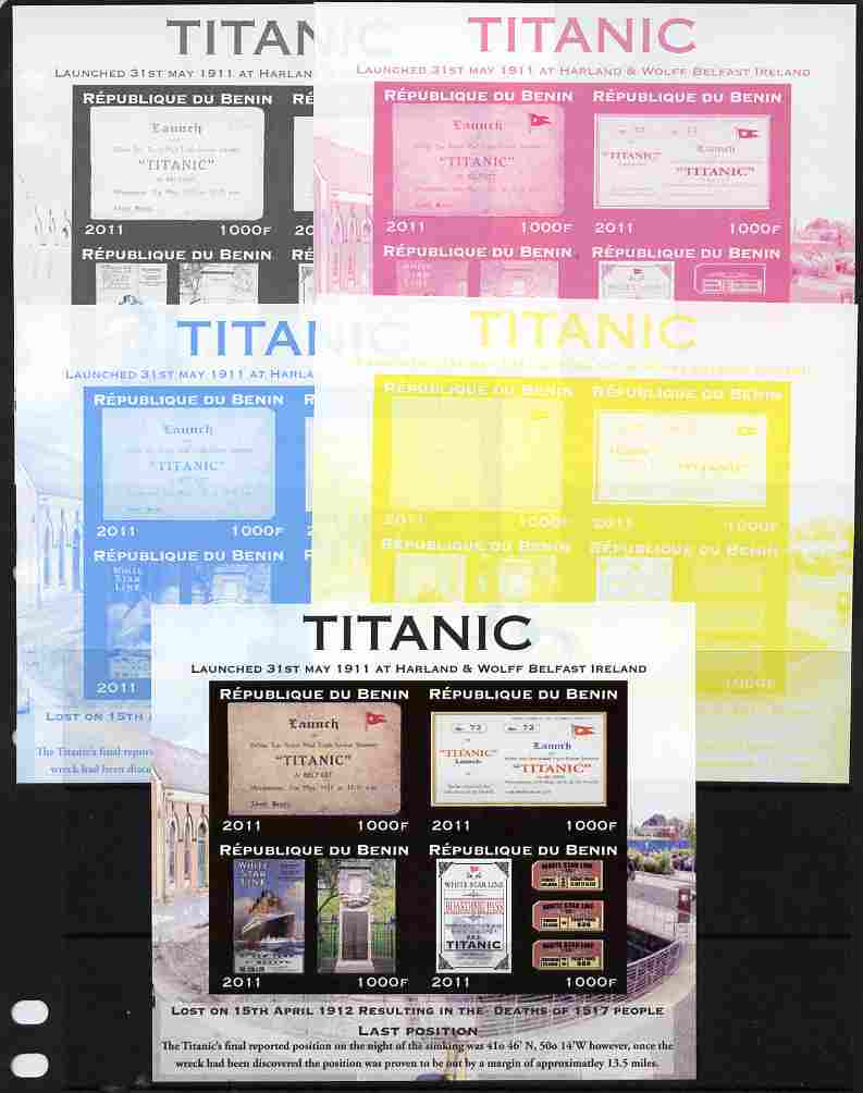 Benin 2011 Titanic #3 sheetlet containing 4 values - the set of 5 imperf progressive proofs comprising the 4 individual colours plus all 4-colour composite, unmounted min...