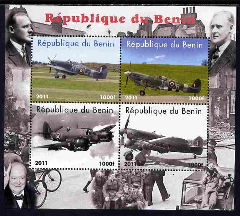 Benin 2011 Aircraft of WW2 (Churchill & Spitfires) perf sheetlet containing 4 values unmounted mint. Note this item is privately produced and is offered purely on its thematic appeal