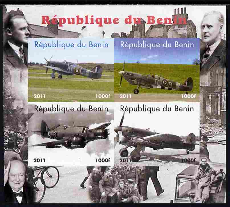 Benin 2011 Aircraft of WW2 (Churchill & Spitfires) imperf sheetlet containing 4 values unmounted mint. Note this item is privately produced and is offered purely on its t...