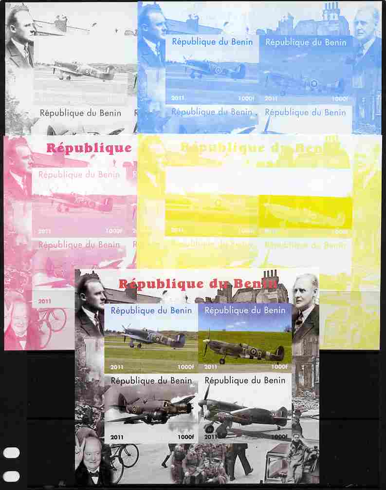 Benin 2011 Aircraft of WW2 (Churchill & Spitfires) sheetlet containing 4 values - the set of 5 imperf progressive proofs comprising the 4 individual colours plus all 4-co...