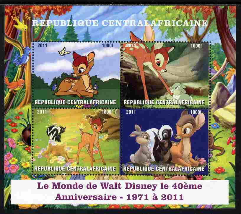 Central African Republic 2011 40th Anniversary of Walt Disney - Bambi #1 perf sheetlet containing 4 values unmounted mint. Note this item is privately produced and is offered purely on its thematic appeal, it has no postal validity