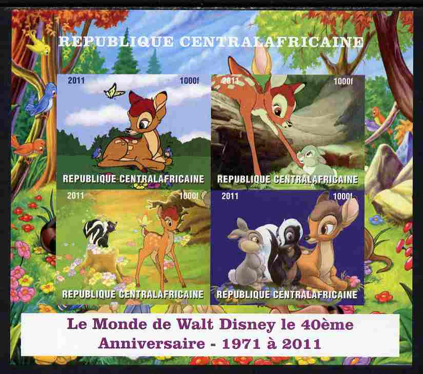 Central African Republic 2011 40th Anniversary of Walt Disney - Bambi #1 imperf sheetlet containing 4 values unmounted mint. Note this item is privately produced and is offered purely on its thematic appeal, it has no postal validity