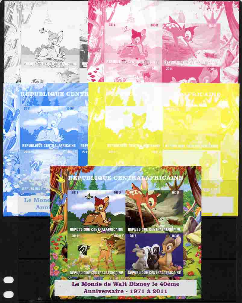 Central African Republic 2011 40th Anniversary of Walt Disney - Bambi #1 sheetlet containing 4 values - the set of 5 imperf progressive proofs comprising the 4 individual colours plus all 4-colour composite, unmounted mint
