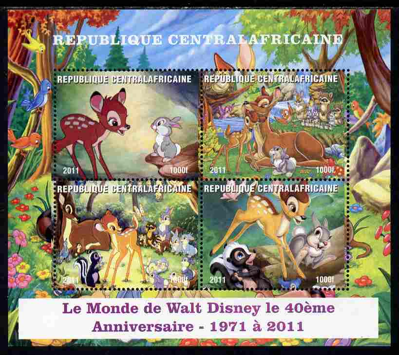 Central African Republic 2011 40th Anniversary of Walt Disney - Bambi #2 perf sheetlet containing 4 values unmounted mint. Note this item is privately produced and is offered purely on its thematic appeal
