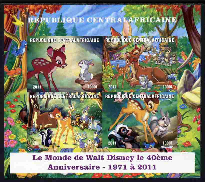 Central African Republic 2011 40th Anniversary of Walt Disney - Bambi #2 imperf sheetlet containing 4 values unmounted mint. Note this item is privately produced and is offered purely on its thematic appeal, it has no postal validity