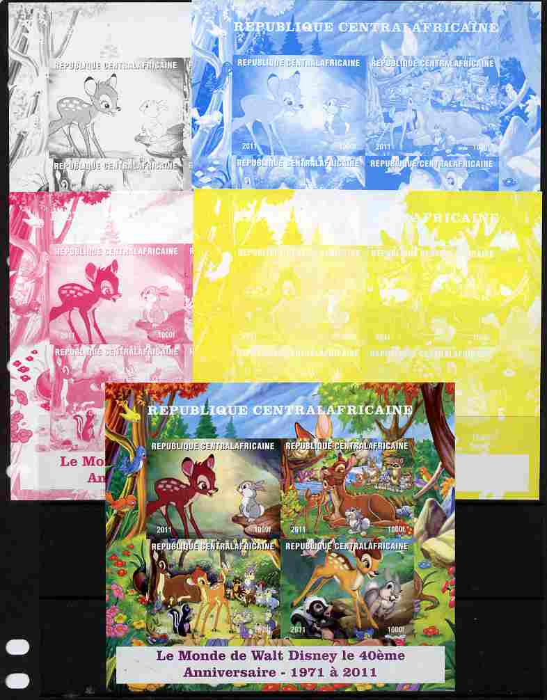 Central African Republic 2011 40th Anniversary of Walt Disney - Bambi #2 sheetlet containing 4 values - the set of 5 imperf progressive proofs comprising the 4 individual colours plus all 4-colour composite, unmounted mint