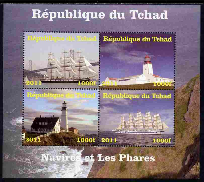 Chad 2011 Ships & Lighthouses perf sheetlet containing 4 values unmounted mint. Note this item is privately produced and is offered purely on its thematic appeal