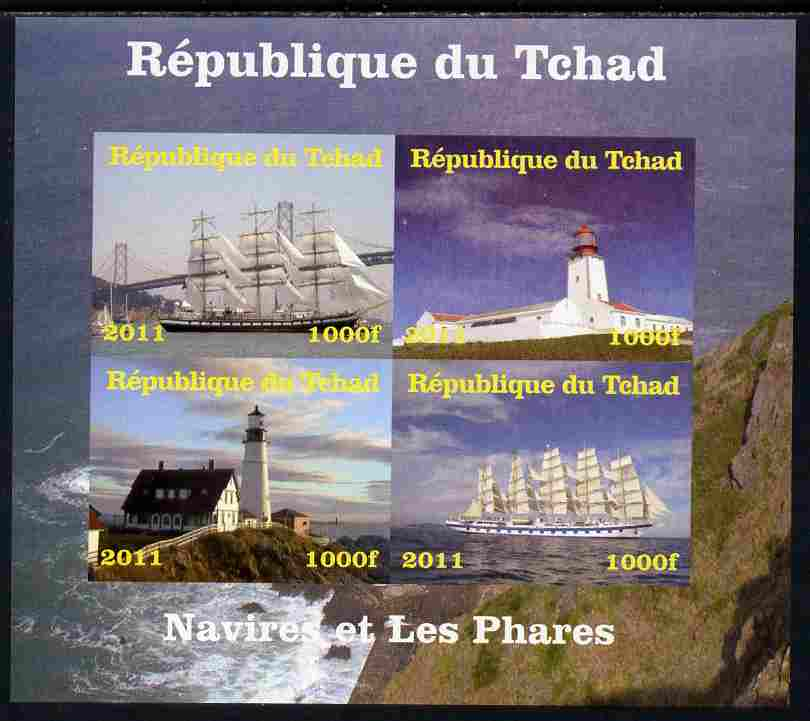 Chad 2011 Ships & Lighthouses imperf sheetlet containing 4 values unmounted mint. Note this item is privately produced and is offered purely on its thematic appeal