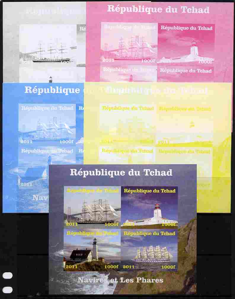 Chad 2011 Ships & Lighthouses sheetlet containing 4 values - the set of 5 imperf progressive proofs comprising the 4 individual colours plus all 4-colour composite, unmounted mint
