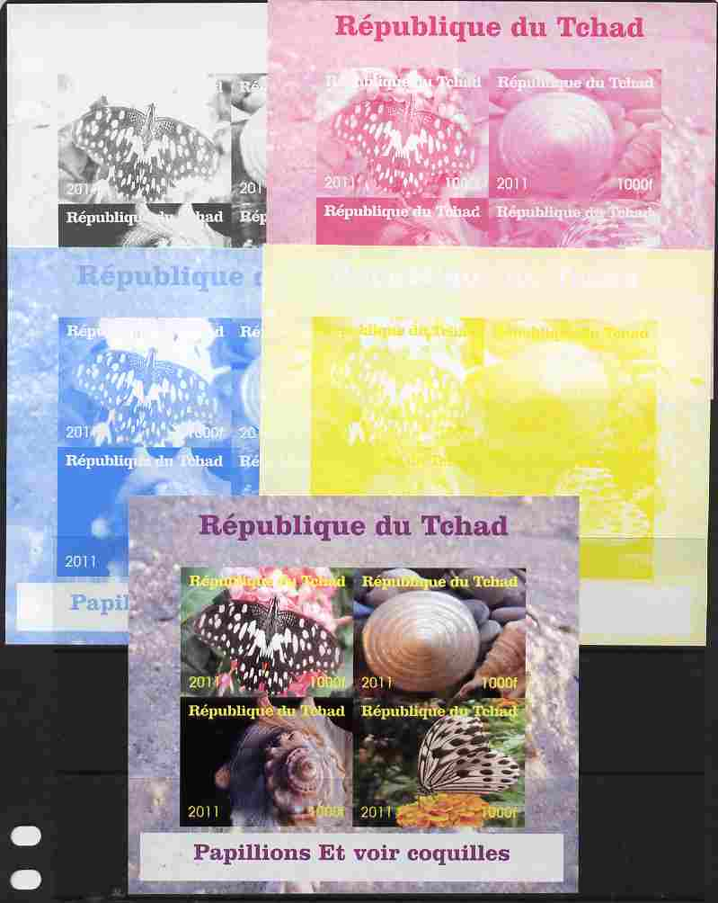 Chad 2011 Shells & Butterflies sheetlet containing 4 values - the set of 5 imperf progressive proofs comprising the 4 individual colours plus all 4-colour composite, unmounted mint